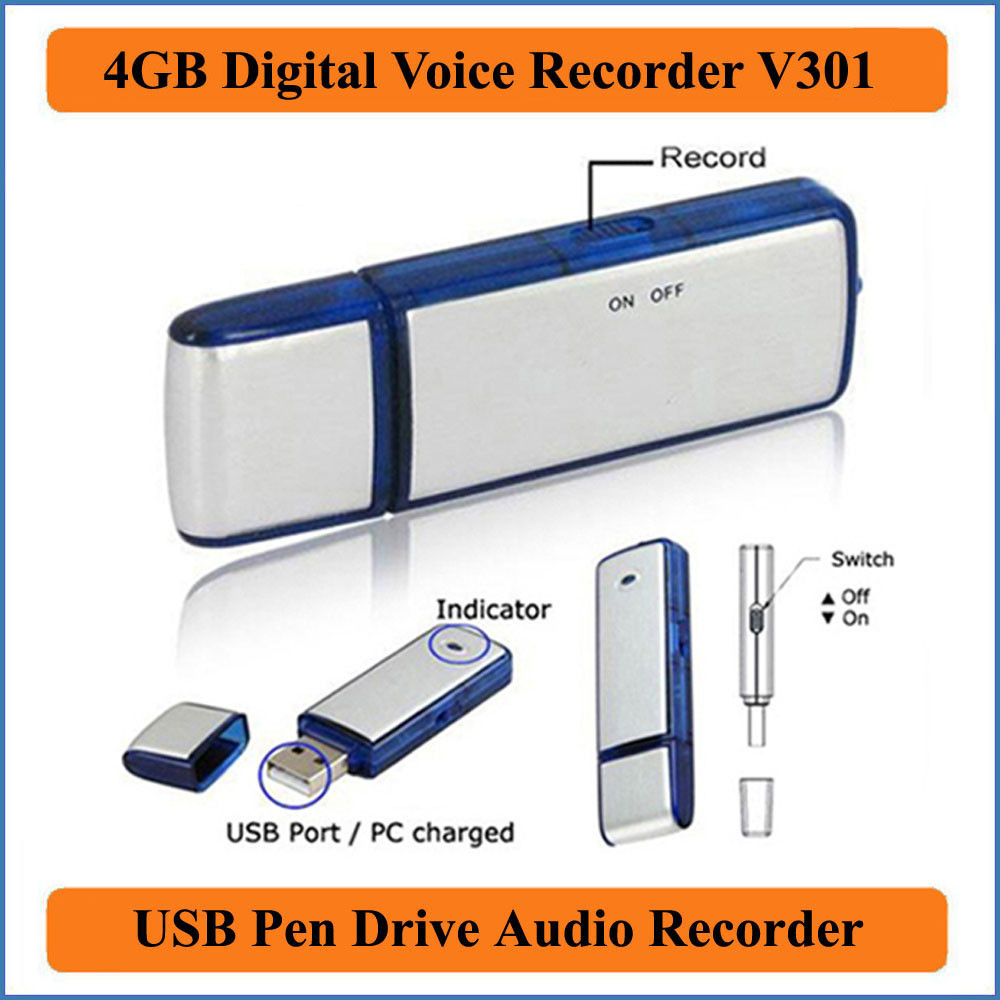 Spy Digital Voice Recorder Pan Drive Hidden Sound Recording 4 GB