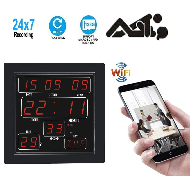Wireless Spy Camera WiFi P2P IP HD 1080P Digital Wall Clock Hidden Camera – 6 Days backup