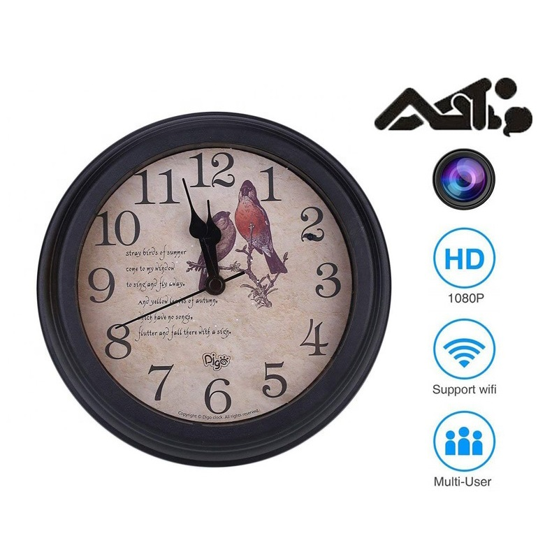 Spy Table Wall Clock Hidden Camera 1080P with Motion Detection