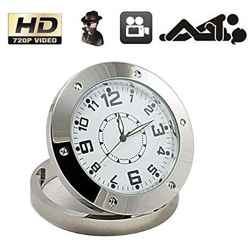 Analog Spy Table Clock Camera Pinhole Hidden Camera Video Audio Camcorder Metal Body