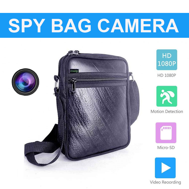 Hidden HD 1080P Motion Detection Spy Camera in Bag audio video recorder with remote 3 Hours
