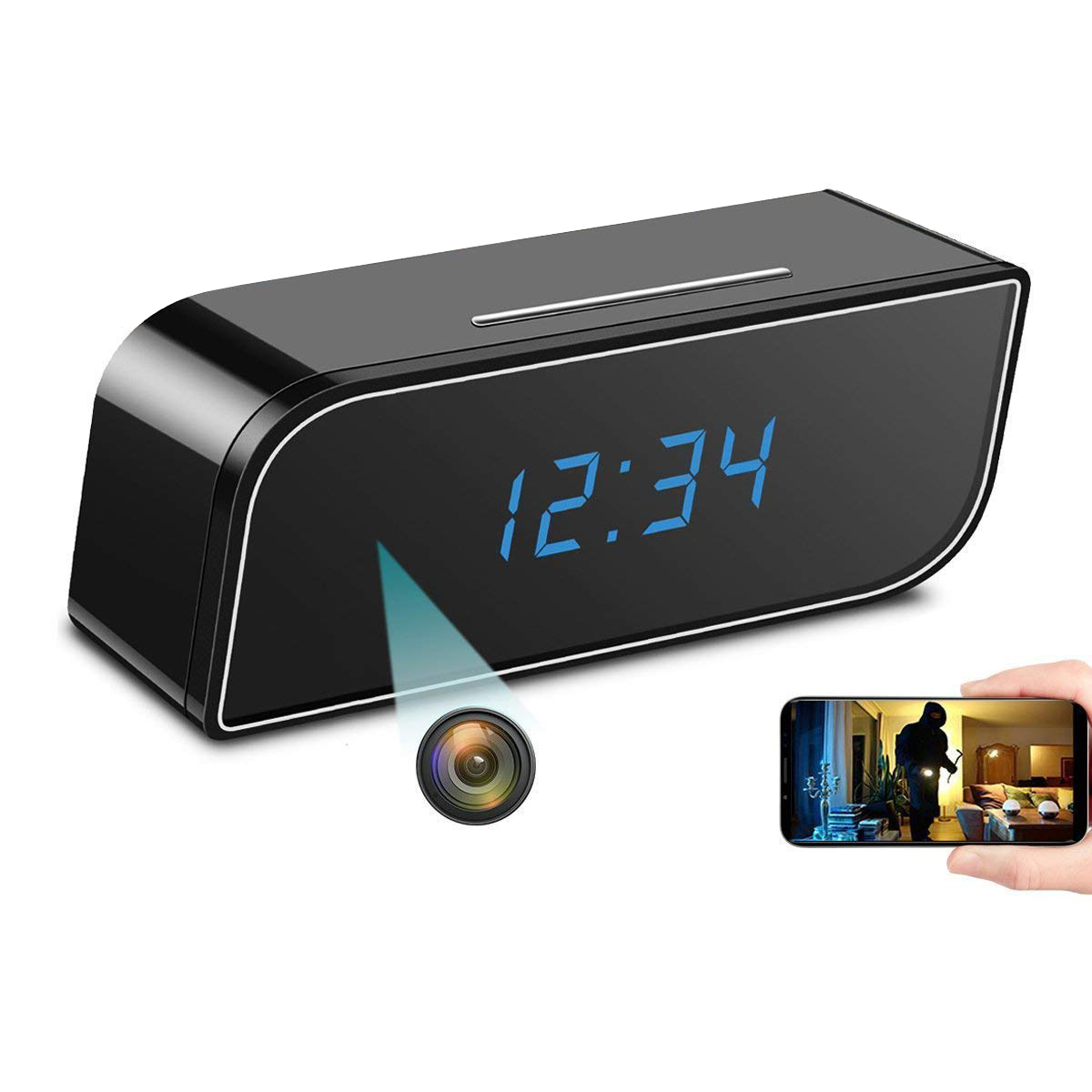 Mini Wireless Wifi IP 720P HD Clock Camera Spy Hidden IR Security Network DVR